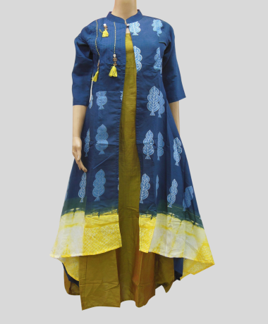 Women Blue Printed Gown Dress