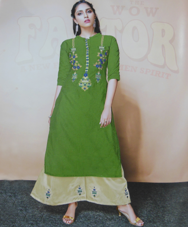 Green Color Kurti With Palazzo