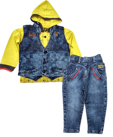 Icefire Denim Blue & Yellow Jacket set-2047