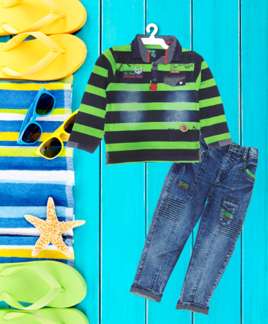 Green & Blue Striped Collared T-Shirt Set-2070