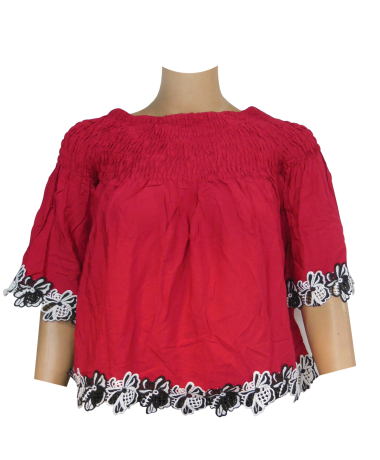Red Color Lace Top