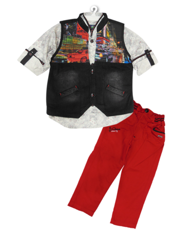 Icefire Red & Black  Jacket set-2040