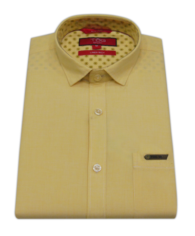 Men`s Solid Slim Fit Casual Shirt (Yellow)