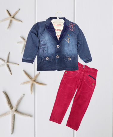 Icefire Denim Blue & Red Jacket set-2076