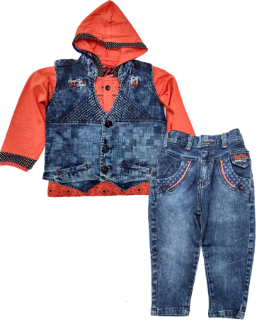 Icefire Denim Blue & Peach Jacket set-2047